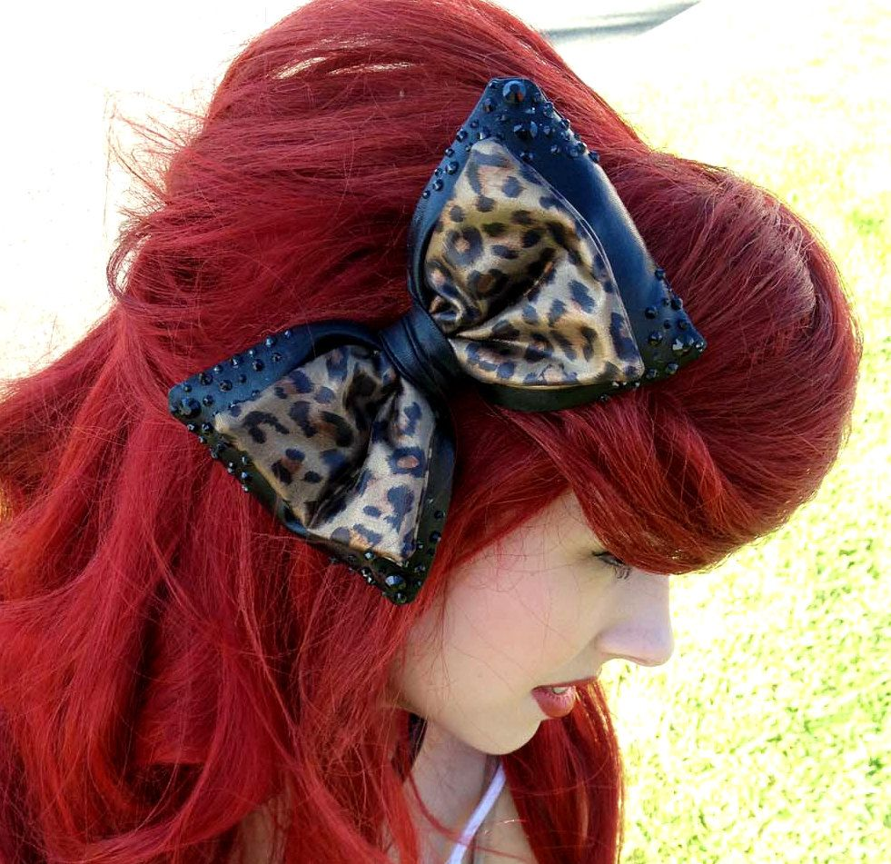 Crystalencrusted black and leopard print bow by crsparklegalaxy