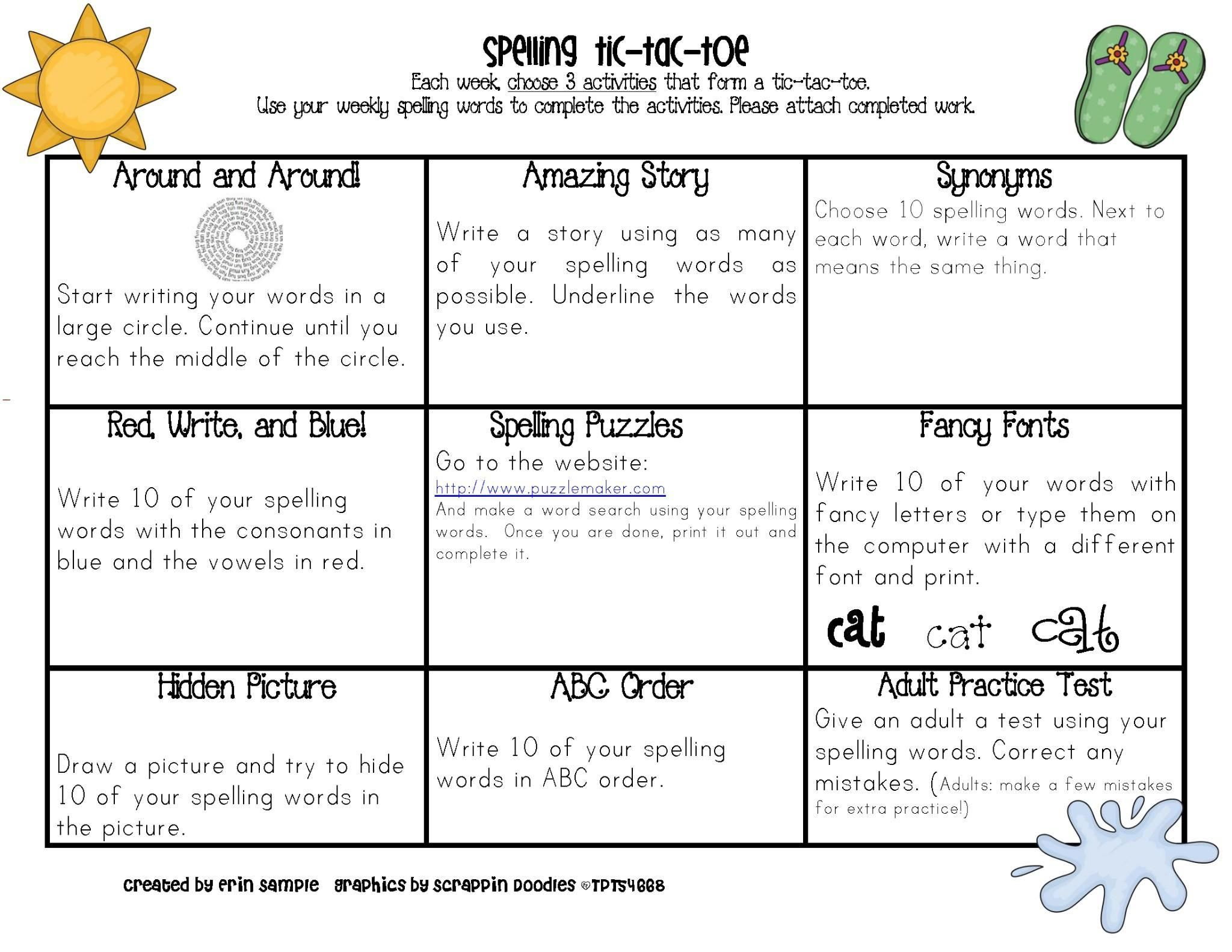 51 Spelling Practice Worksheets Grade 5