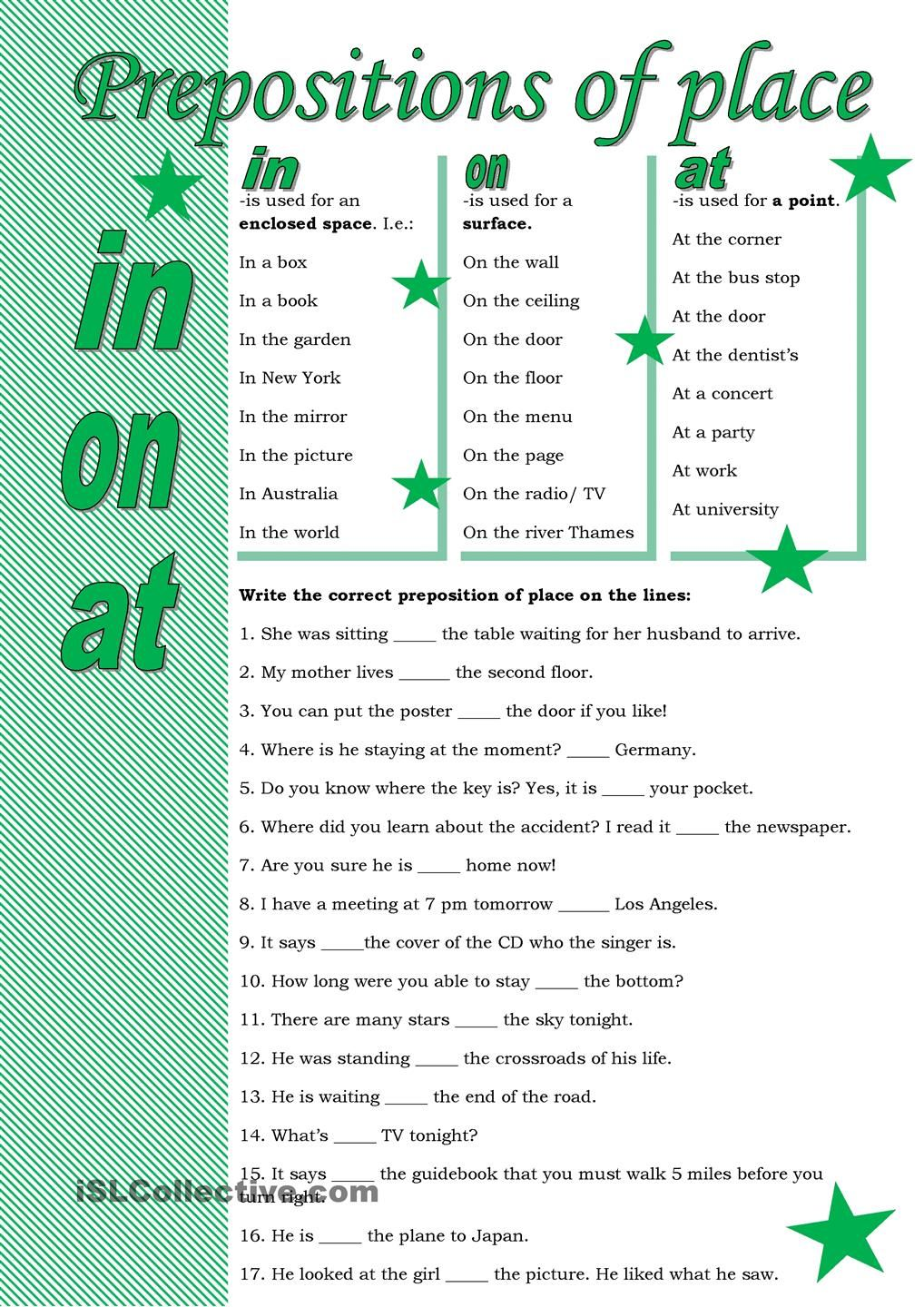 Prepositions of place Aprender ingles vocabulario