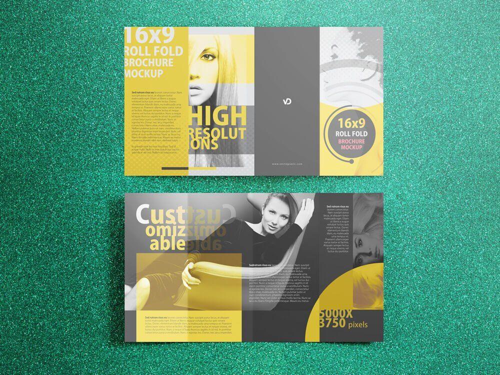 16x9 Four Panel Roll Fold Mockup Mockup, Brochure size