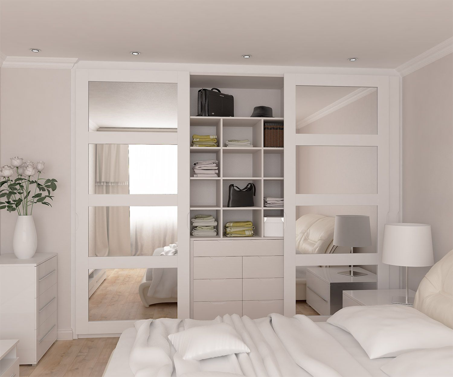 fully fitted wardrobes range with mirrored doors in spray