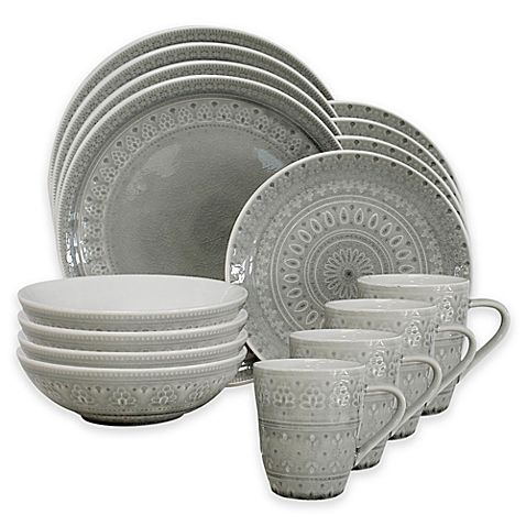 Euro Ceramica Fez 16-Piece Dinnerware Set in Dove Grey | Home Ideas | Pinterest | Dove grey Dinnerware and Euro  sc 1 st  Pinterest & Euro Ceramica Fez 16-Piece Dinnerware Set in Dove Grey | Home Ideas ...