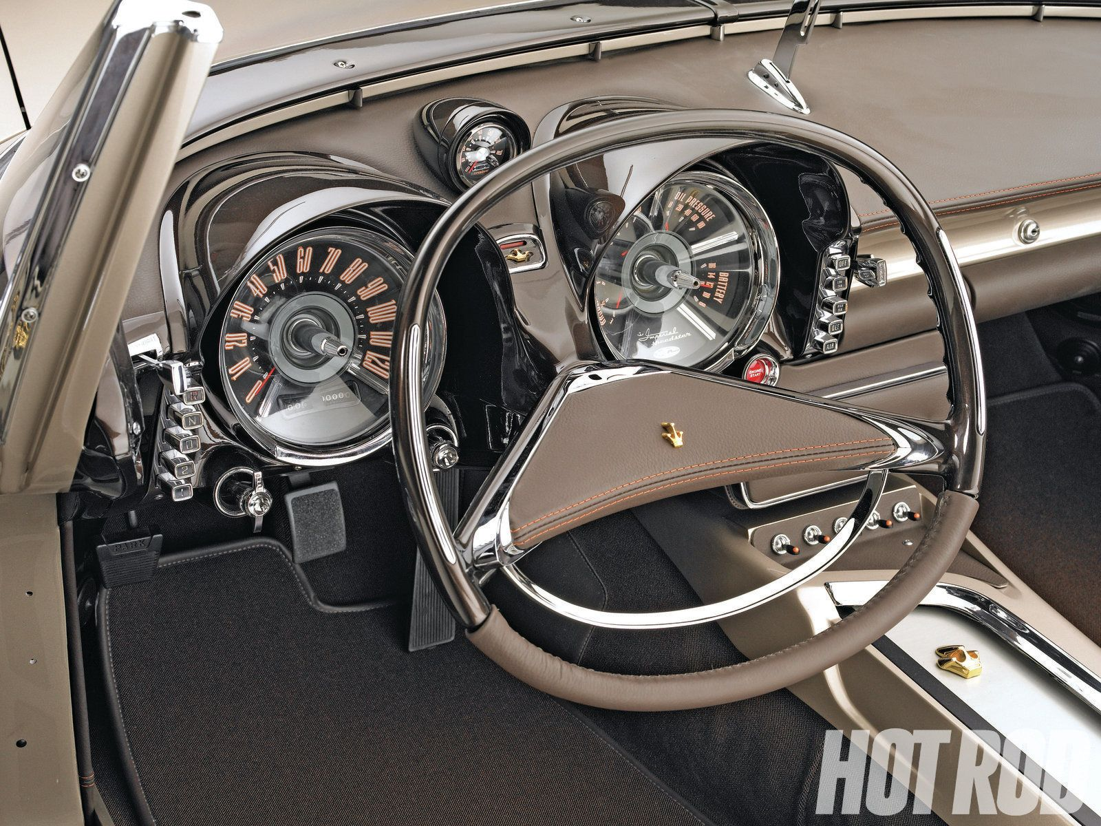 1956 chrysler imperial interior images - Chrysler Imperial Dashboard Note The Squared Oval Steering Wheel And Pushbutton Transmission Speedo Ain T Bad Either Pinterest Wheels And Cars
