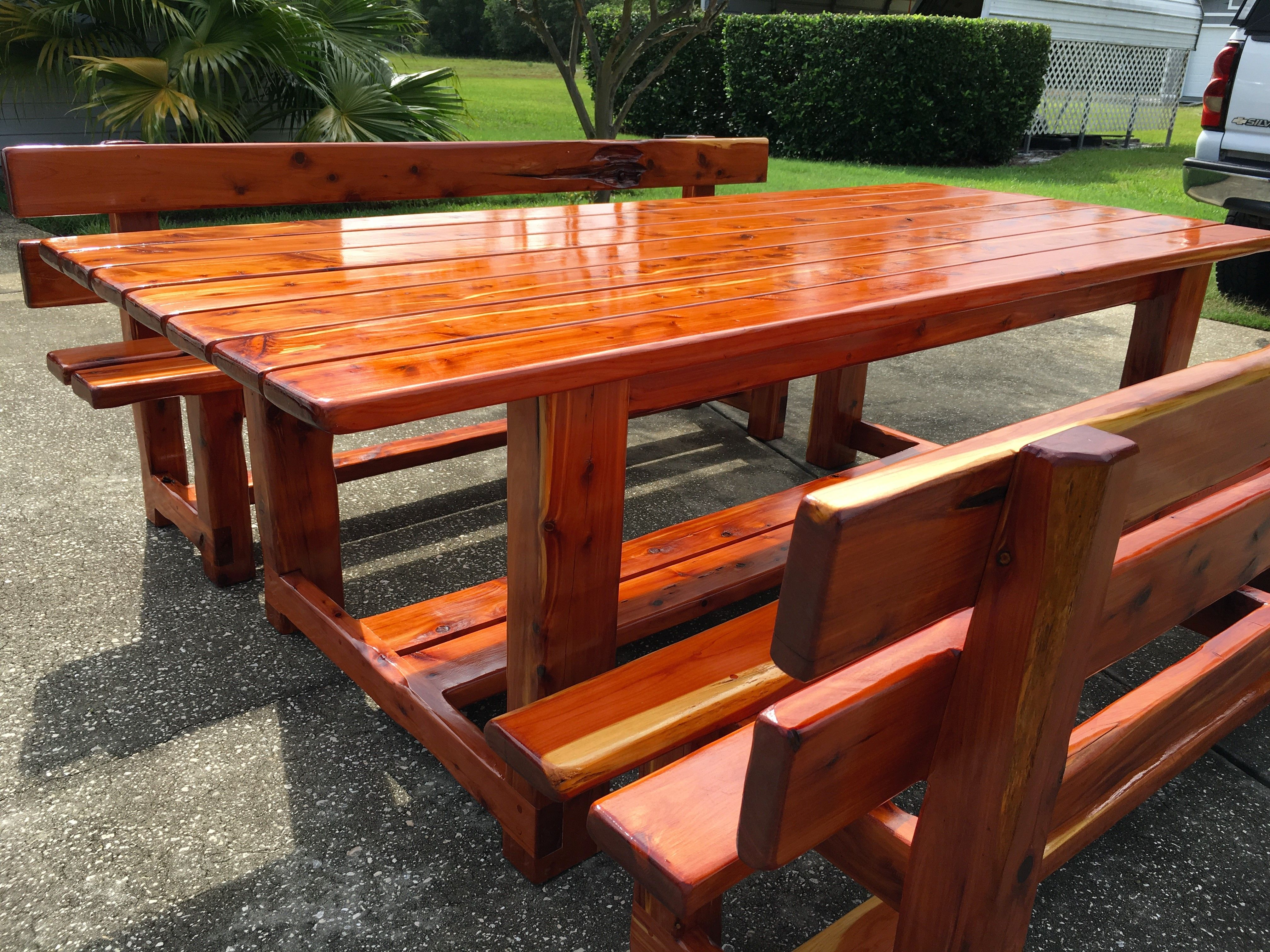 Eastern Cedar Table And Benches Finished With Clear Spar Varnish No Stain Www Facebook Com Jbprecisioncarpentry Cedar Table Outdoor Decor Outdoor Tables