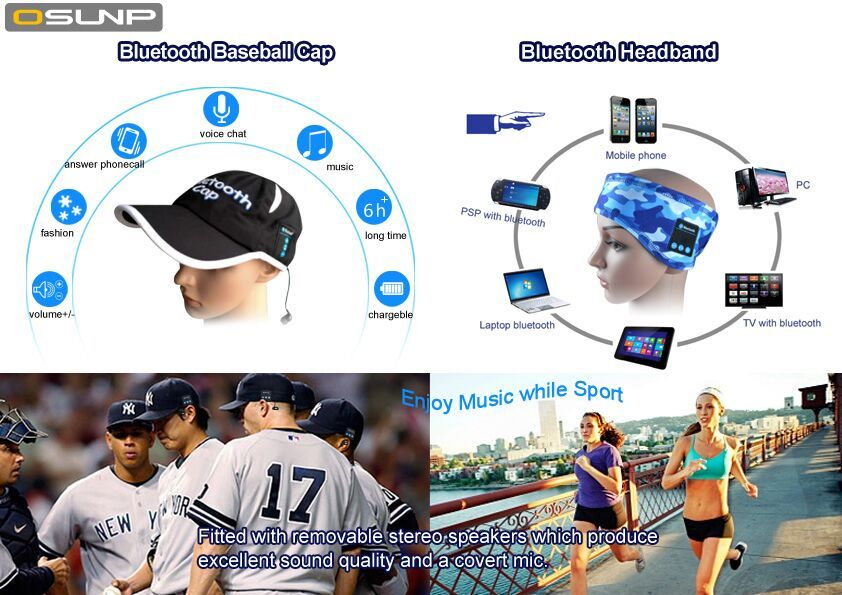 Osunp Bluetooth headband and Bluetooth baseball cap