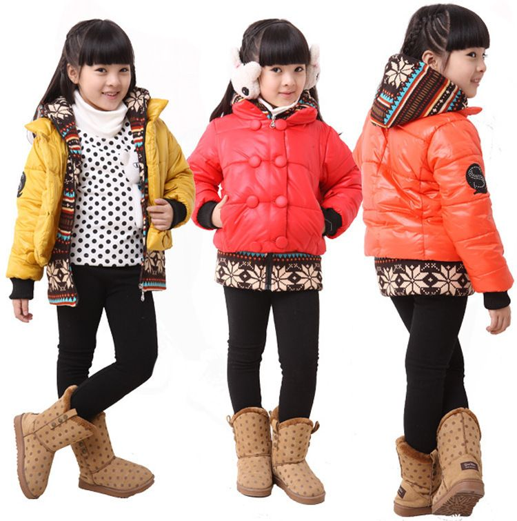 9e071949e Free shipping New winter girl false two-piece cotton-padded jacket ...