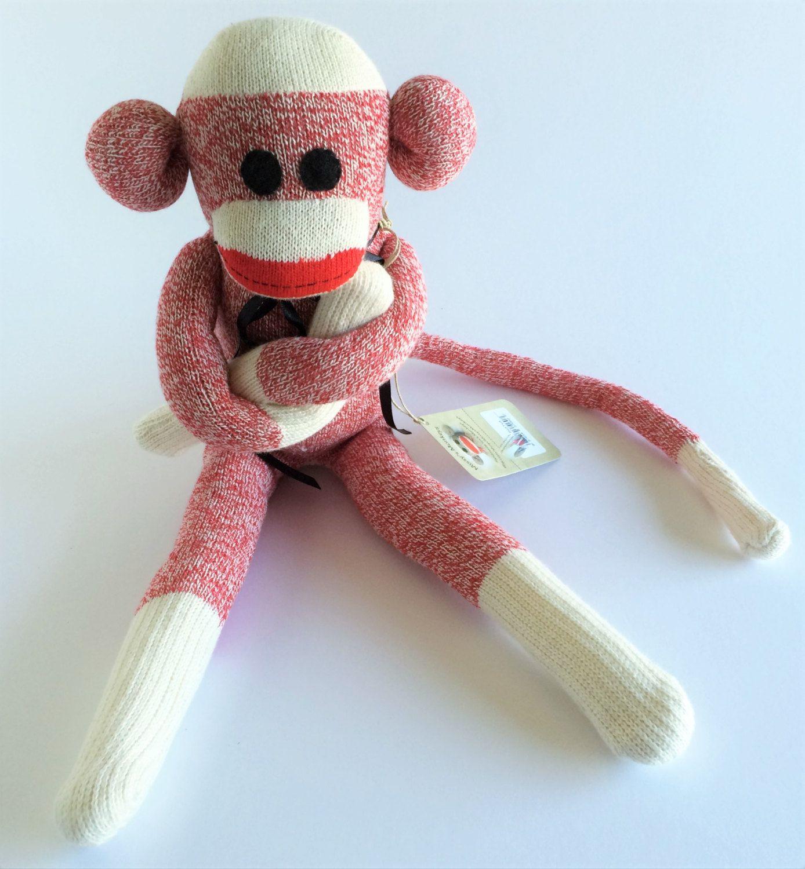Sock Monkey-Red-Rockford Red Heel-Handmade-Large-with Felt eyes ...