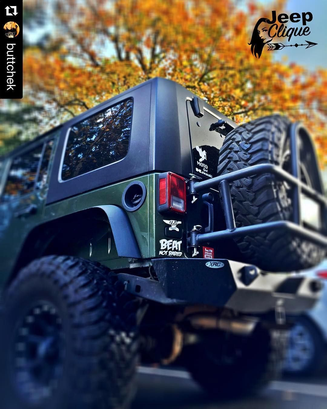 BADass Jeep from the beautiful @buttchek  #SexyAF #BadassJeepHer #JeepClique_OR #LiveAdventurously  #TushyTueaday #DatAssDoe #Jeep #JKU #Wrangler #Fall #Trees #ColorChanging #YetiBuiltFam #BeatNotBabied #MotoChick #Kawasaki #Oregon #PNW #XRC #XDAddicts #JeepClique #GenRight #JeepPhotography #MyLove #MyObsession by jeepclique