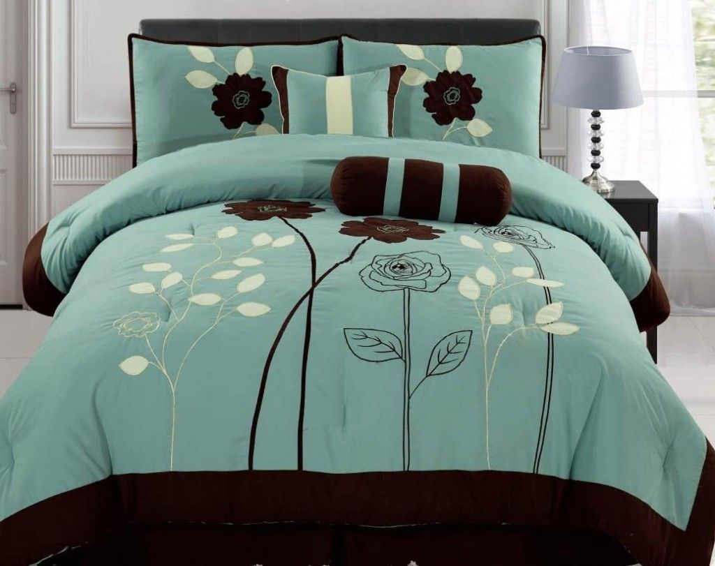 brown flower on teal bedding of a welcome comfort from