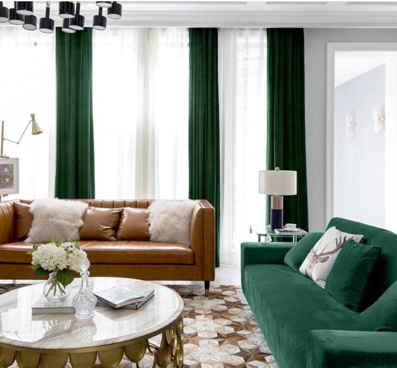 Pair of Hunter Green Velvet Curtains, Silky Velvet Curtains, Living Room Velvet Curtains, Custom Curtains – Condo decor ideas