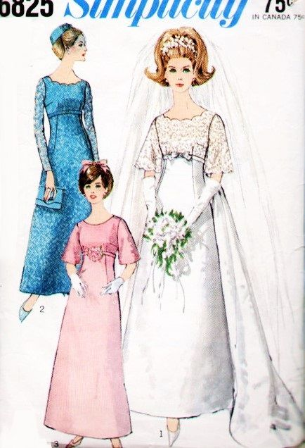 ea68ac8b7 60s Beautiful Empire Wedding Gown Bridal Dress Pattern Simplicity 6825 Detachable  Train A Line Gown Vintage Sewing Pattern
