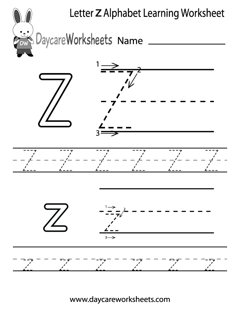Preschoolers can color in the letter Z and then trace it