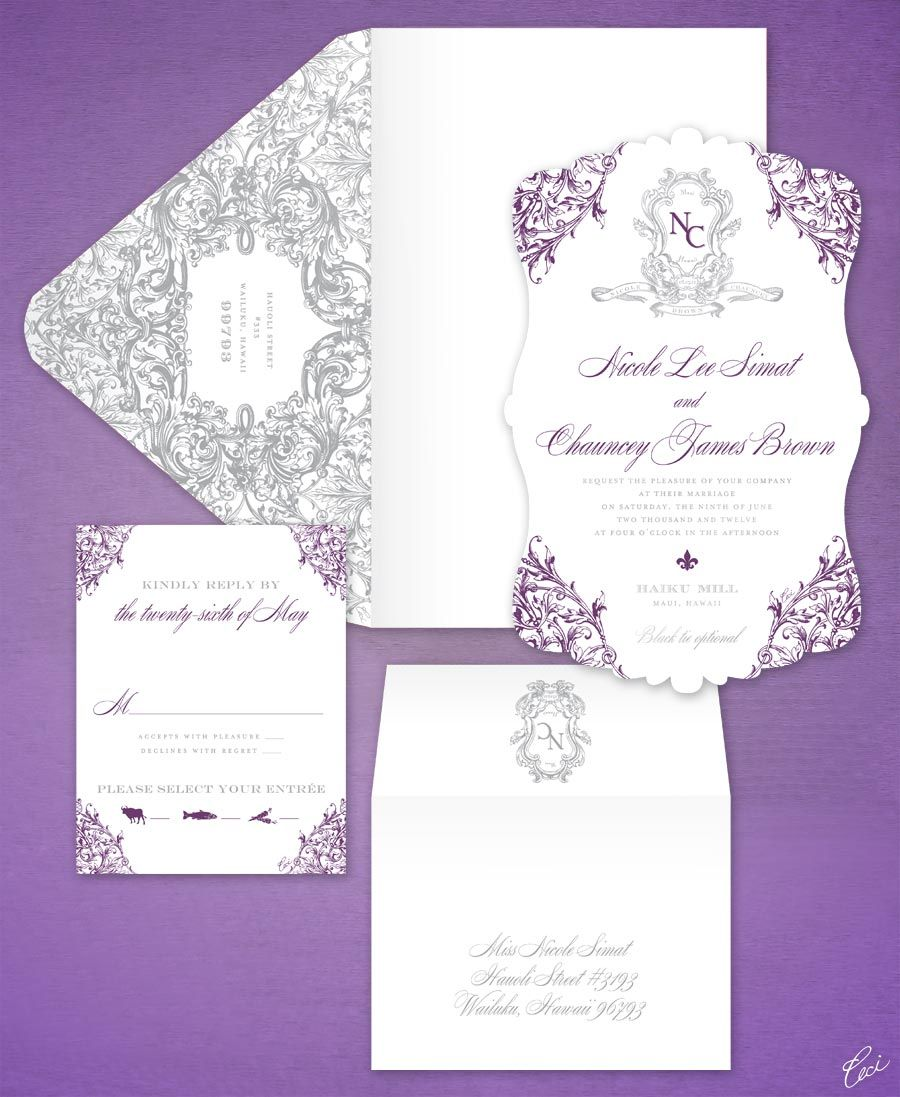 Luxury Wedding Invitations By Ceci New York Our Muse Purple