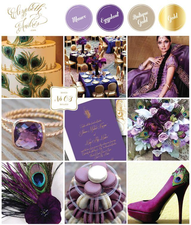 Elizabeth Andres Designs Inspiration Board Purple Gold Peacock Feather Wedding Purple Wedding Invitations Gold Wedding Colors Wedding Colors