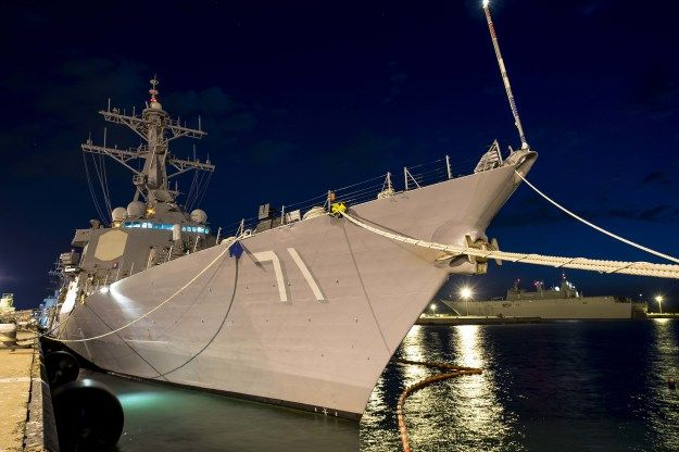 Guided-missile destroyer USS Ross (DDG 71) moored in Rota,Spain,June 9, 2015. US Navy photo.The four ballistic missile defense destroyers patrolling 6th Fleet will get self-protection upgrade beginning this year,as Navy integrates Raytheon's Sea Rolling Airframe Missile (SeaRAM) onto its Aegis-equipped Arleigh Burke-class destroyers (DDG-51) for first time.U.S. 6th Fleet leadership sent urgent requirement for self-protection on the four ships,which focus all their energy on the BMD mission.