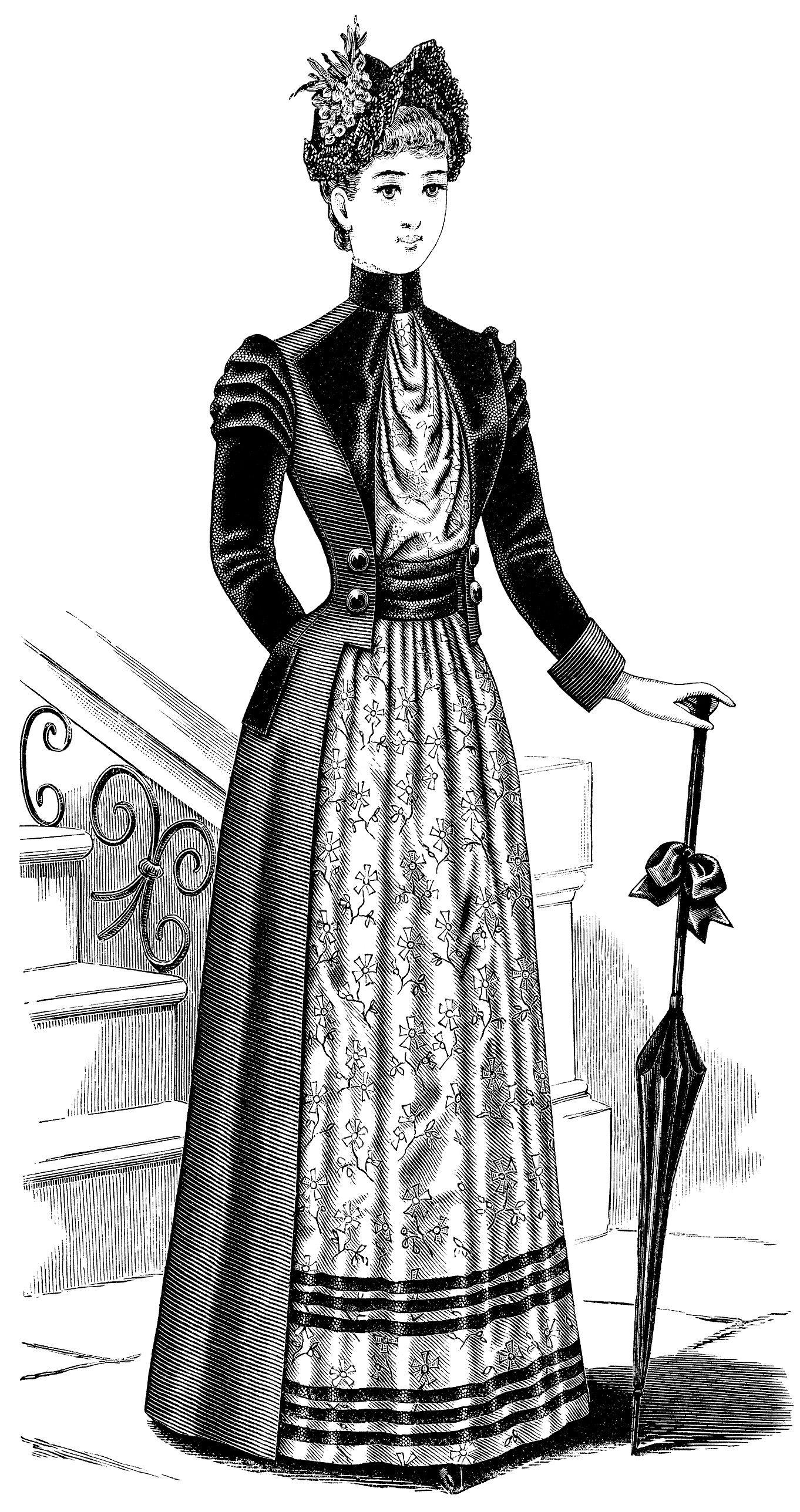 Victorian Ladies Toilette Free Clip Art Black And White Version Fashion Illustration Vintage Victorian Women Victorian Fashion