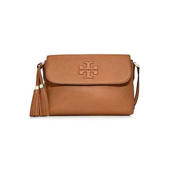 Tory Burch Thea Womens Brown Purse Leather Messenger ($325) ❤ liked on Polyvore featuring bags, messenger bags, purses, tory burch, handbags, leather bags, beige leather bag, genuine leather bags and leather messenger bag