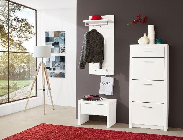 vito Bank SPACE Lack Weiß Hochglanz #Flur #Garderobe #Raumgestaltung