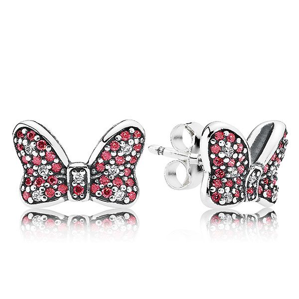 5760dc5c7 PANDORA Disney Minnie's Sparkling Bow Earrings | PANDORA Disney ...