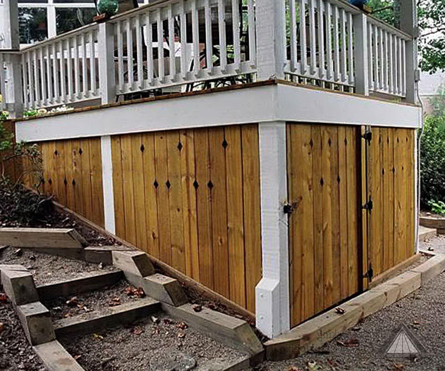 Under deck storage solutions home pinterest deck for Garden shed on decking