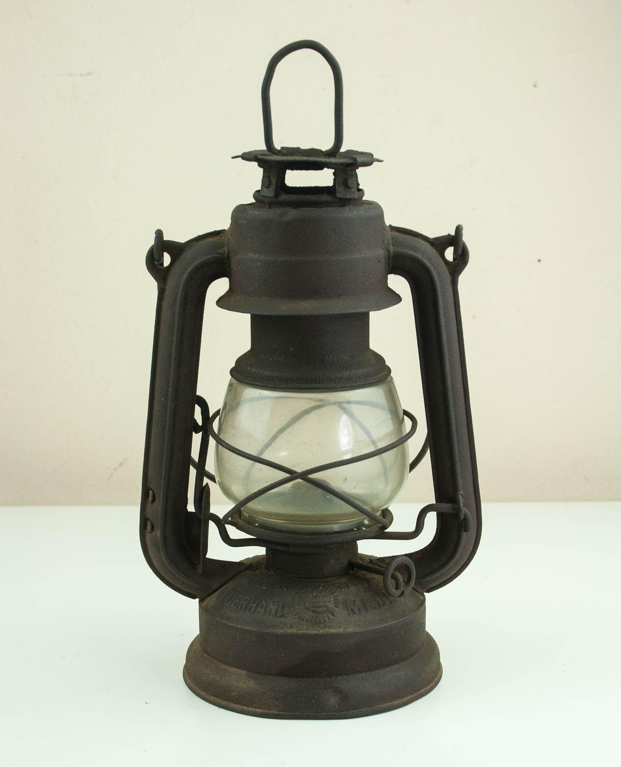 Vintage German Kerosine Lamp, Old Farmhouse Lantern Light