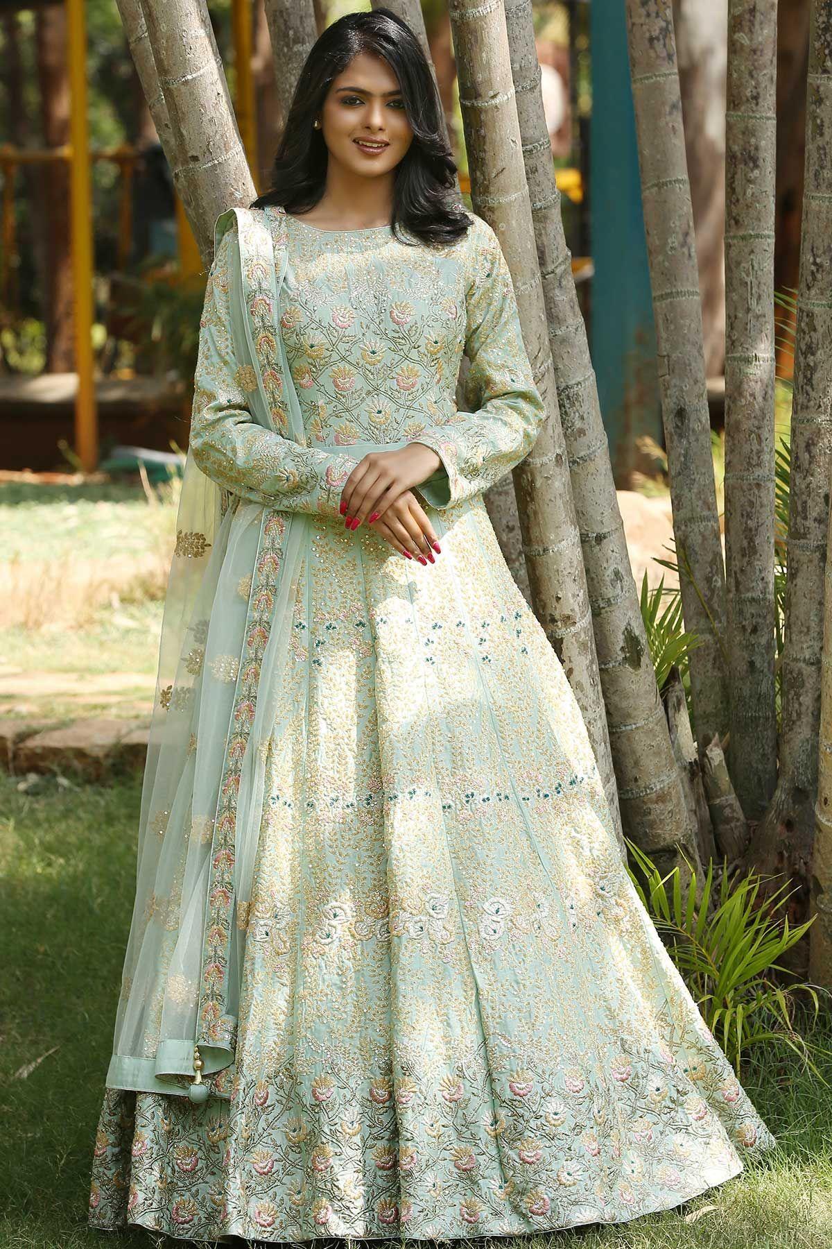 94c555319d Buy Light Green Zardosi Embroidered Raw Silk Evening Gown Online
