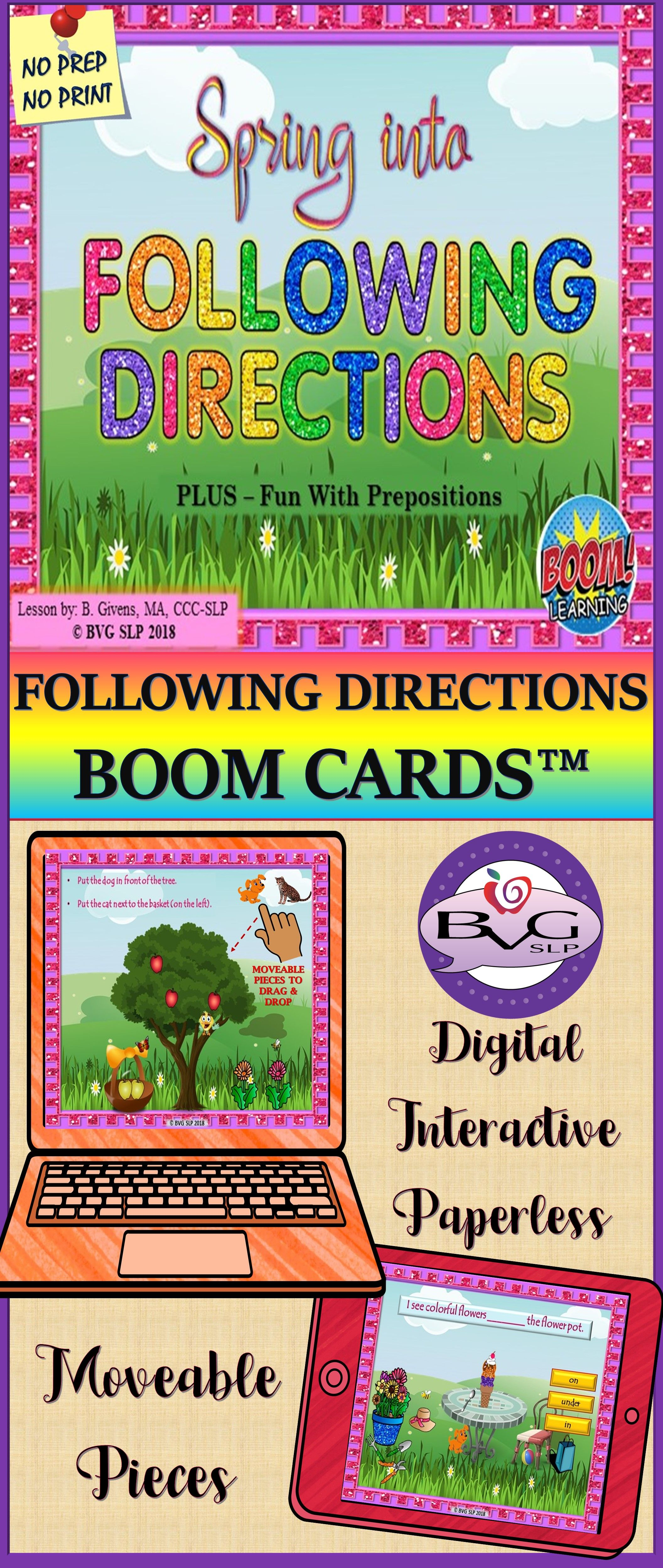 Boom Cards Following Directions Plus Prepositions
