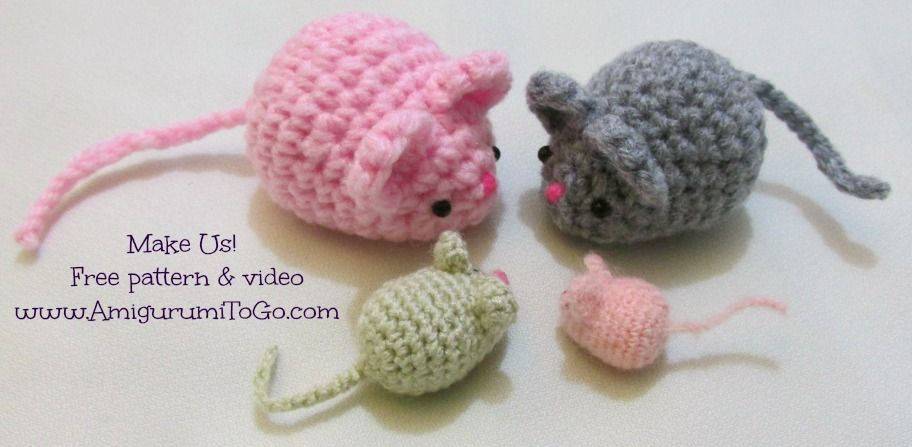 Amigurumi Mouse Free Pattern and Video Tutorial ~ http://www ...