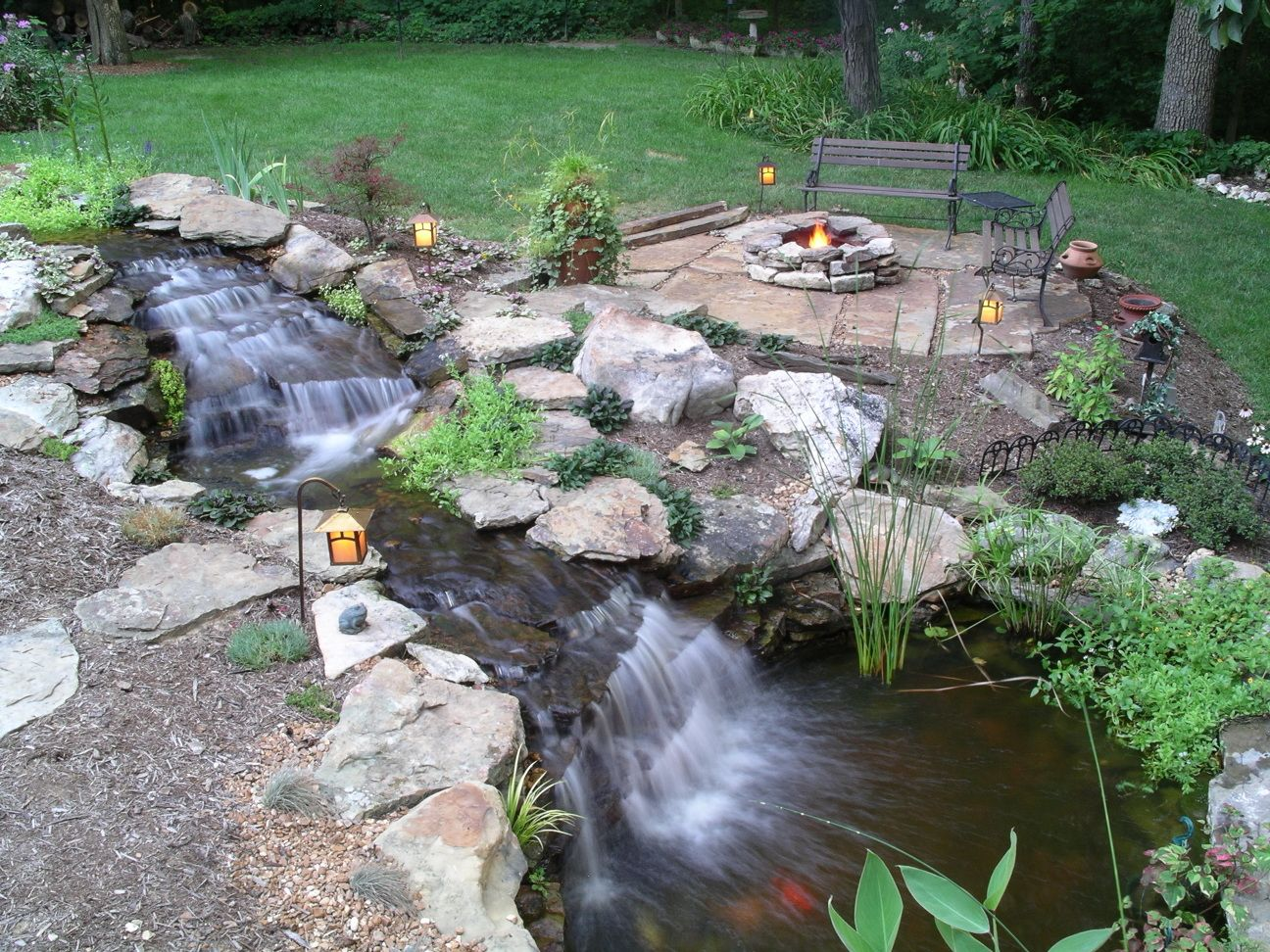 Pond with Fire Pit