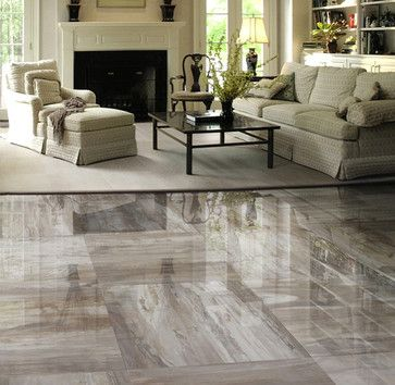 Grey Tile Floor In Family Room Google Search Polished