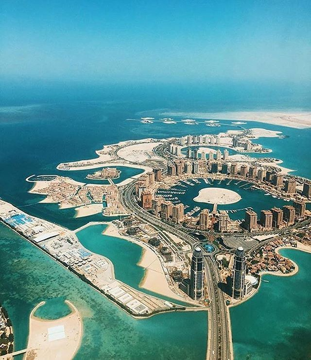 (This photo is Qatar) - Dubai isn't the only luxury travel destination in the Middle East. This is the city of Doha in Qatar. Super cool. ☀️ Dubai Doha Qatar #luxury #travel #middleeast