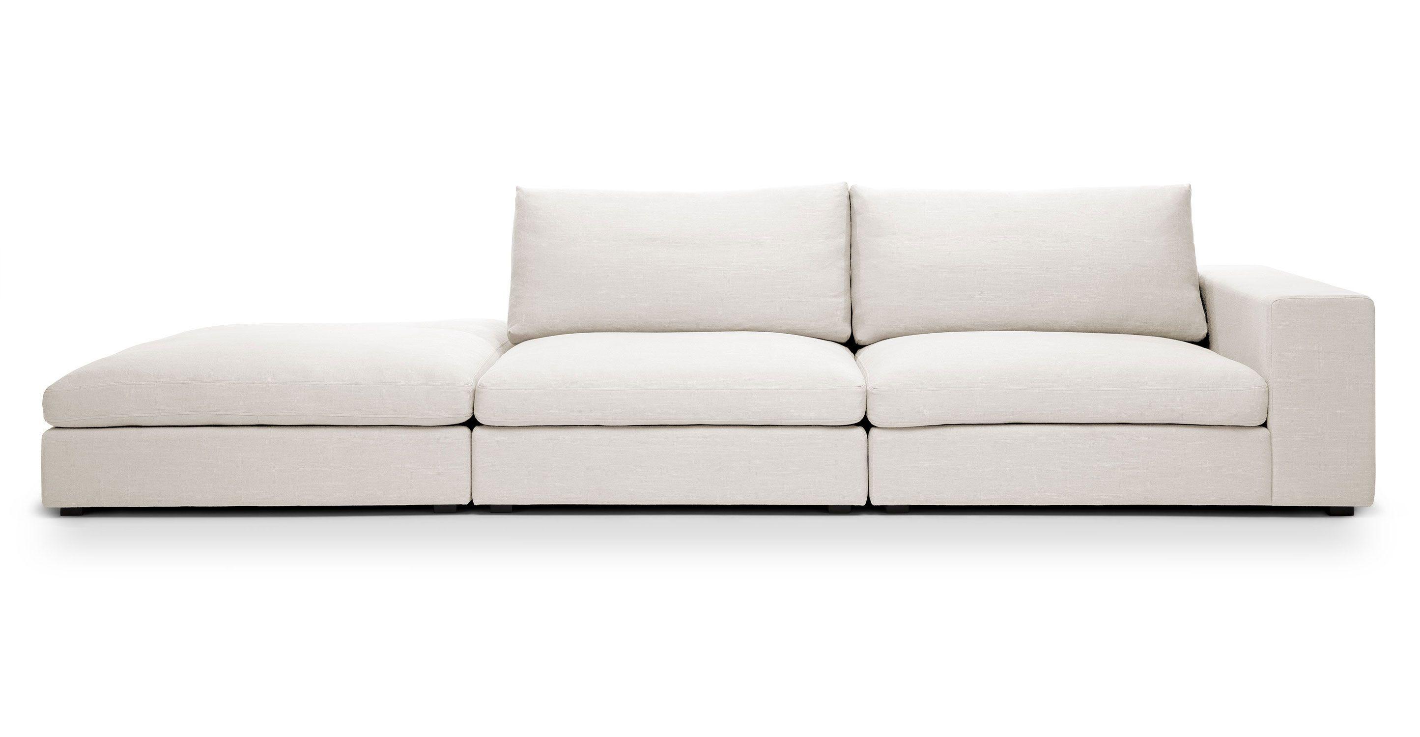 Cube Quartz White Modular Sofa Right Arm Modular Sofa Mid