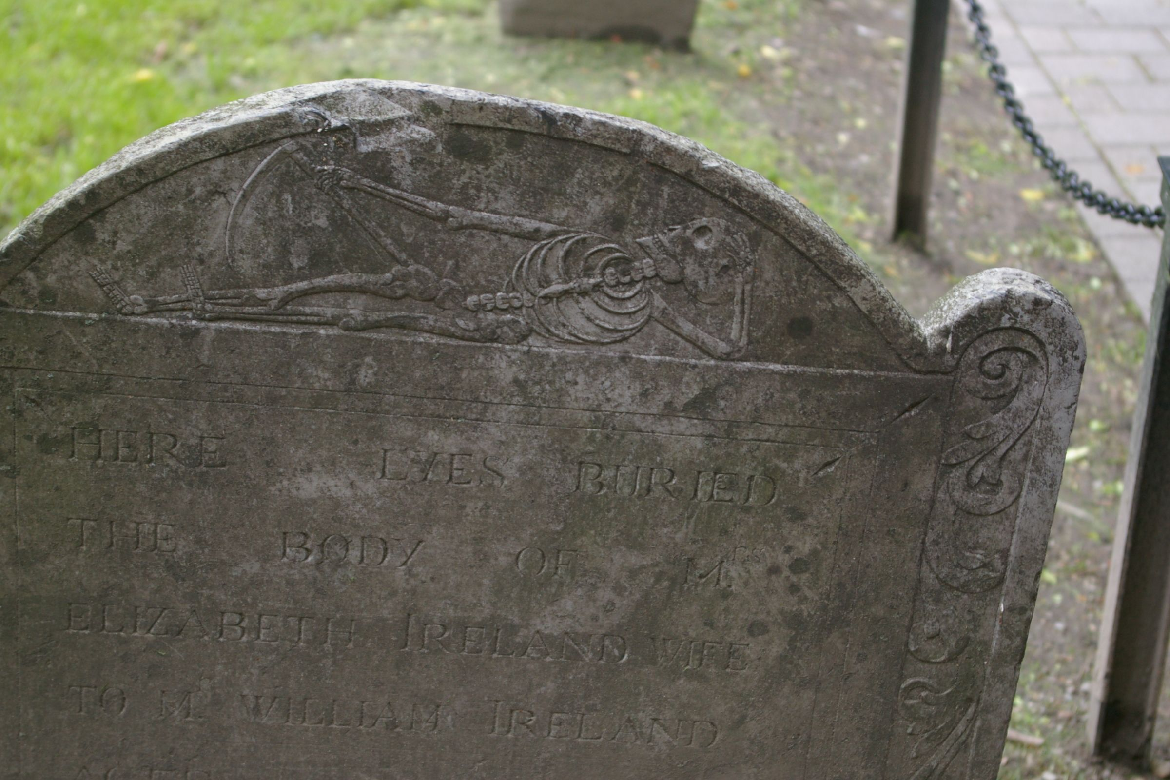 Death with a scythe top this stone in Boston's Granary burying ground.