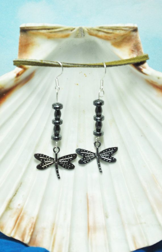 Dragonfly earrings; hematite earrings; silver dragonfly charm ...