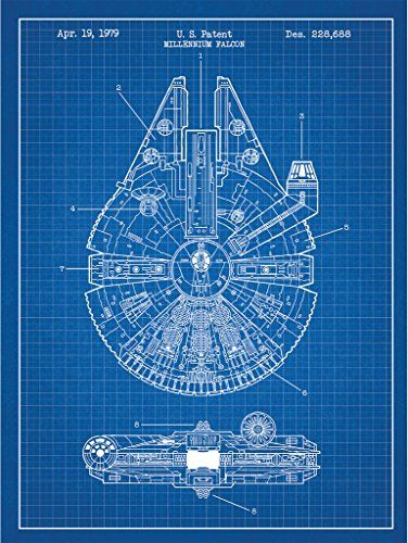 Star wars millennium falcon design patent art poster 18 x 24 inch star wars millennium falcon design patent art poster 18 x 24 inch silk screen print malvernweather Gallery