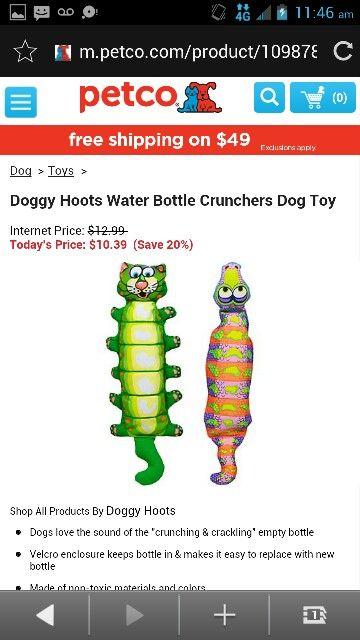 Doggy Hoot Water Bottle Crunchers Dog Toy My Pet Dreamboard