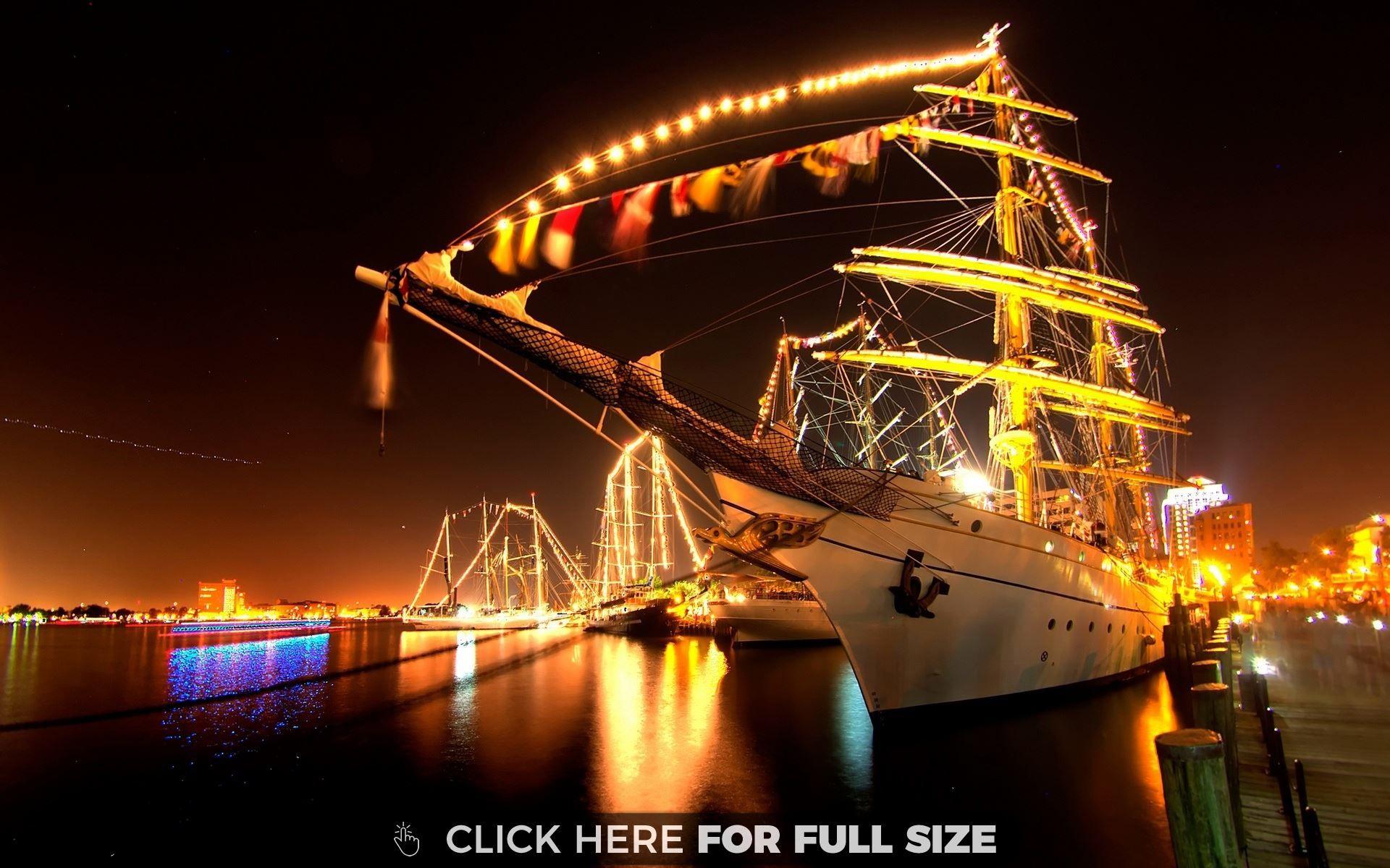 Night Ship Sailing Ships Power Boats Sailing