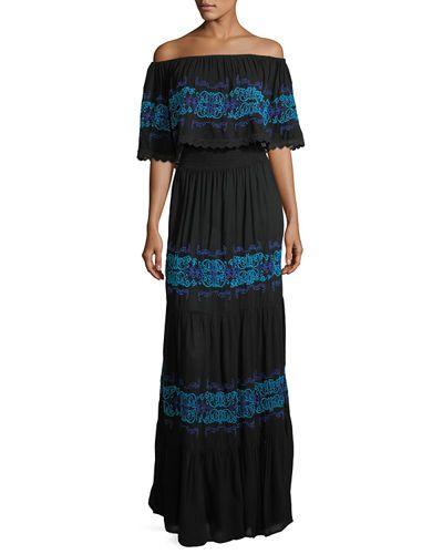 Tvscc Chelsea Theodore Off The Shoulder Ruffle Trim Maxi Dress