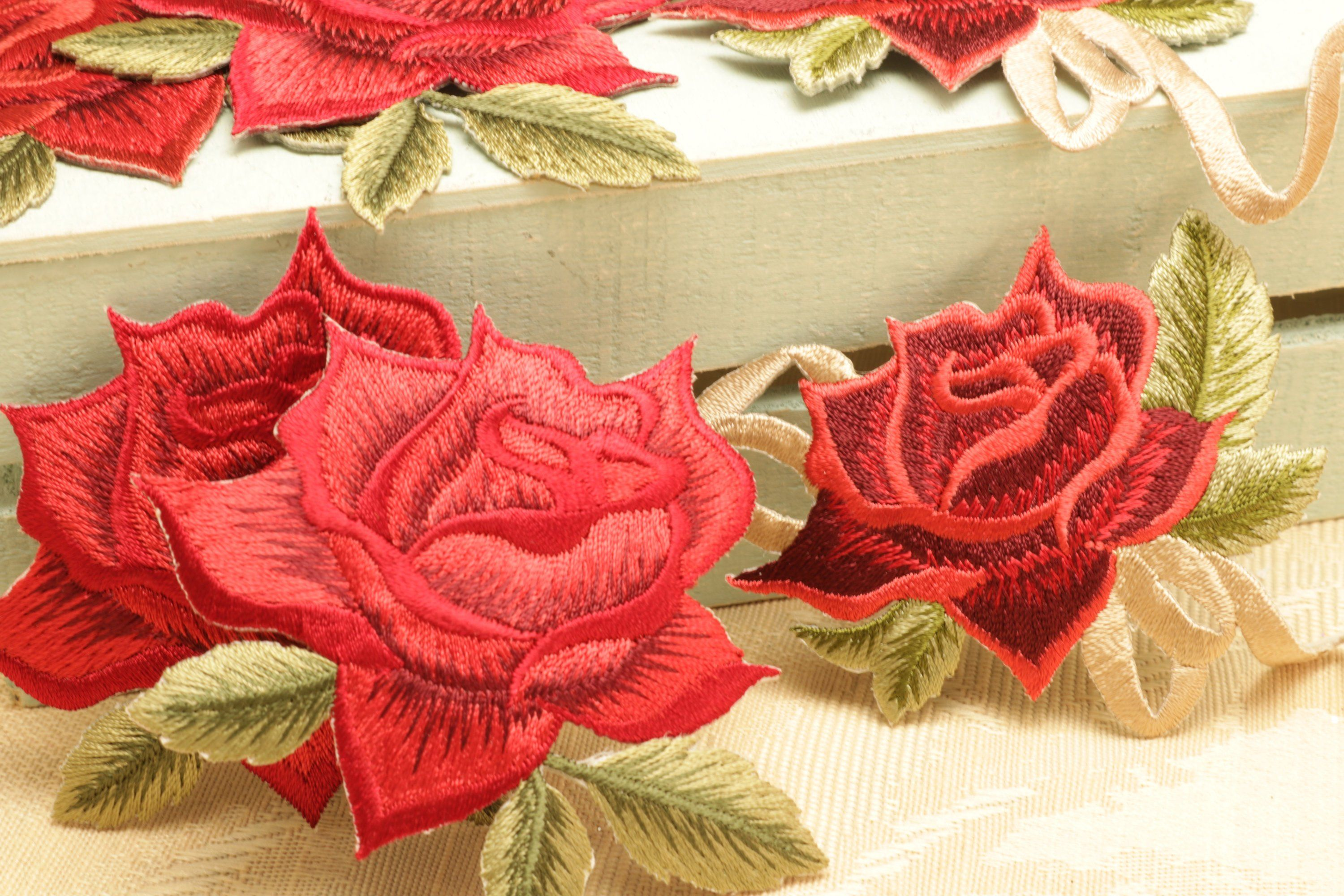 Applique Fabric Roses Embroidered New Iron On Sew On Patch Red Pink Green Sold Separately By Craftyscr Fabric Roses Applique Fabric Sew On Patches