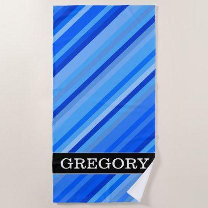 Stripes Custom Name Stripes Of Blue Pattern Beach Towel Blue