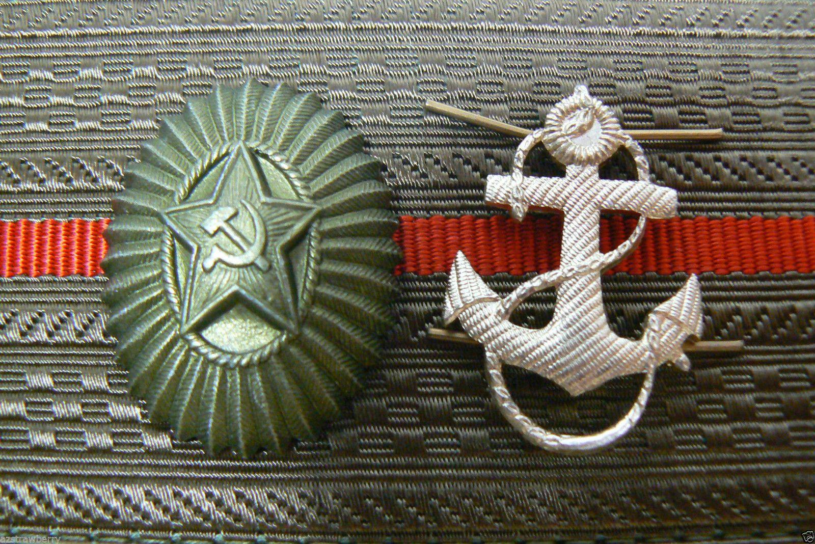 Vintage Lot Of 2 Original Russian Military Hat Star Lapel Pin U0026 Navy Anchor