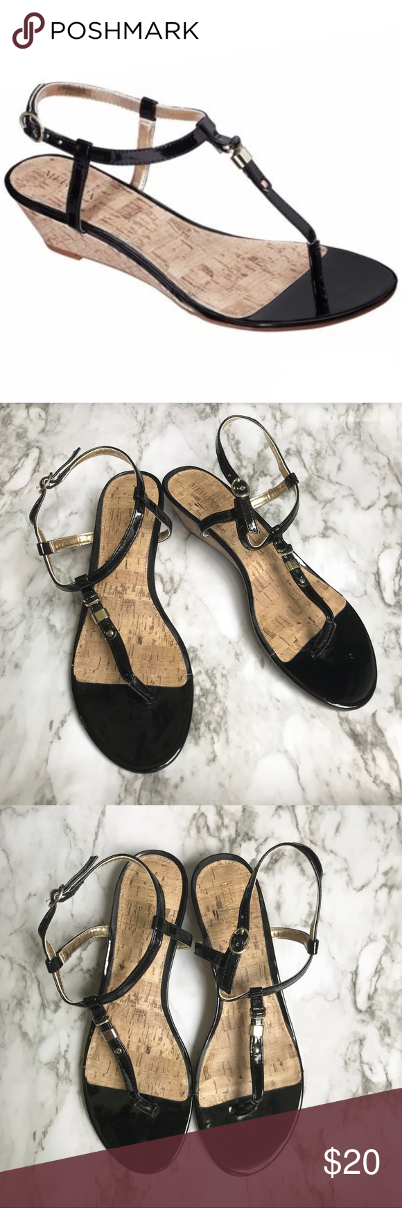 "Merona Etha Cork Low Wedge Sandals These wedge sandals are polished and comfy in black faux patent leather with gold tone hardware. The 1.5"" wedge heel features a cork accent to bring a touch of flair to your look. Approximate Measurements: 1.5"" heel height Material: All Manmade In Excellent Used Condition. Merona Shoes Sandals #lowwedgesandals Merona Etha Cork Low Wedge Sandals These wedge sandals are polished and comfy in black faux patent leather with gold tone hardware. The 1.5"" wedge #lowwedgesandals"