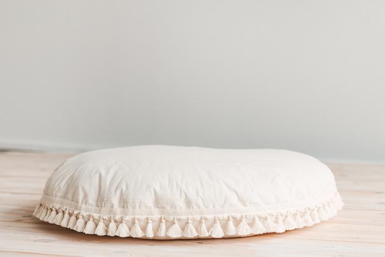 kids floor pillow with tassels boho
