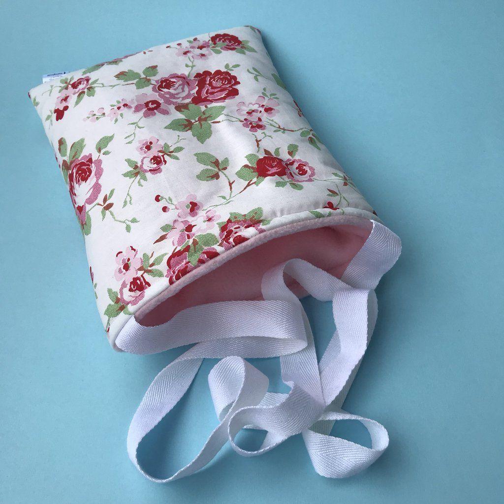 White floral padded bonding bag, carry bag for hedgehogs