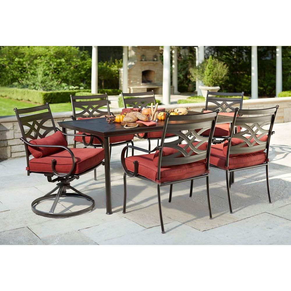 Hampton Bay Middletown 7-Piece Patio Dining Set with Chili Cushions ...