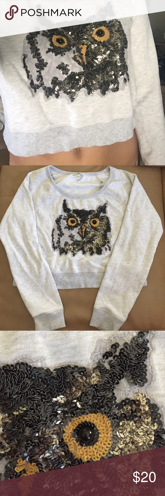 Owl Crop Top Sweatshirt Sequin and lace owl, crop top sweatshirt. 60% Cotton 40% Polyester. Size small but comfortable fit, great condition all sequins and beads still in place. Express Tops Sweatshirts & Hoodies