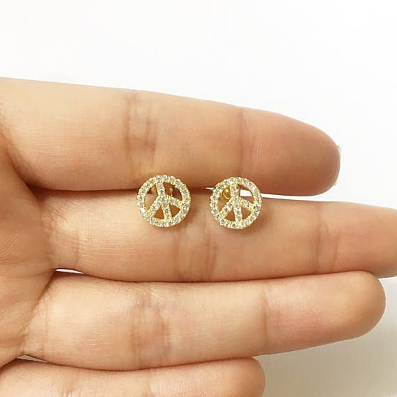 jewelry stud silver crystals sterling earrings boho bohemian with peace symbol sign black pin faceted