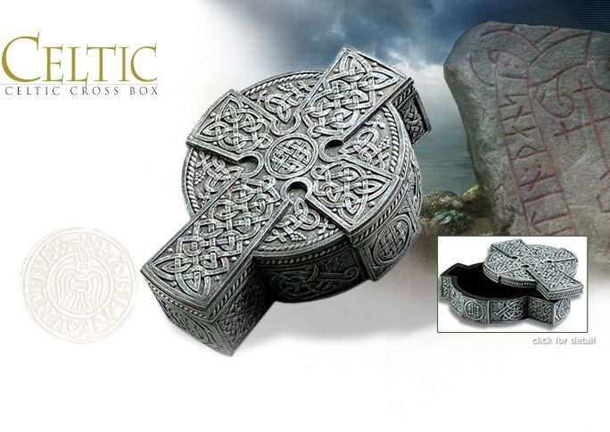 NobleWares Image of Celtic Cross Simulated Stone Treasure Box 6411 by YTC Summit