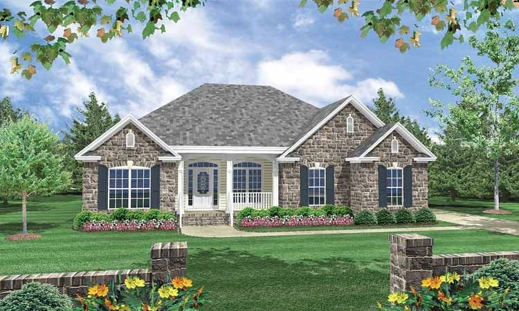 European Style House Plan 3 Beds 2 Baths 1600 Sq Ft Plan 21 185 Brick House Plans Brick Exterior House French Country House Plans