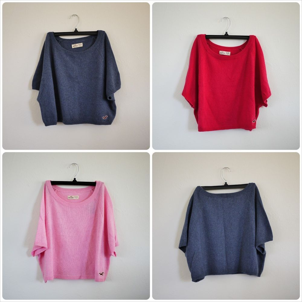 NWT Hollister by Abercrombie Crop Sweater Top Navy Blue, Hot Pink ...
